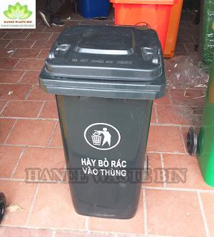 thùng rác nhựa 120 lít màu đen