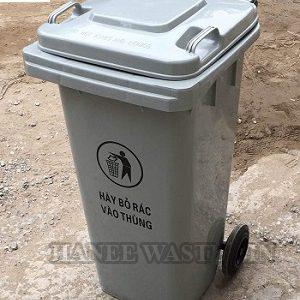 thùng rác nhựa 120 lít màu xám