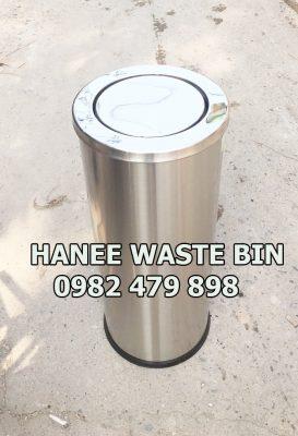 thùng rác inox nắp lật 250x610 mm