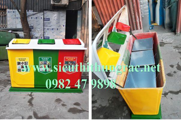 thùng rác ba ngăn composite