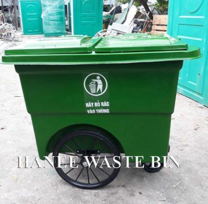 thùng rác composite 660 lít bánh hơi