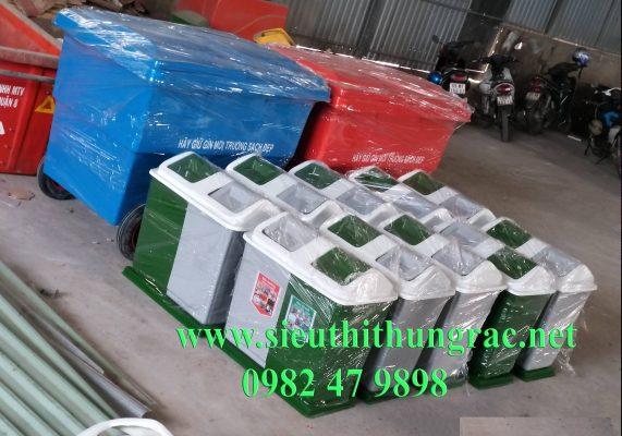 thùng rác hai ngăn phân loại rác