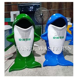 thùng rác nhựa composite cá heo