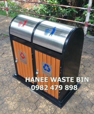 thùng rác gỗ đôi HN-48