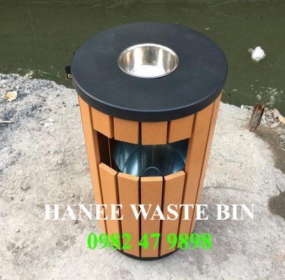 thùng rác gỗ tròn HN-01