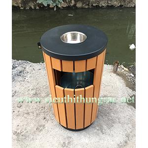 thùng rác gỗ tròn