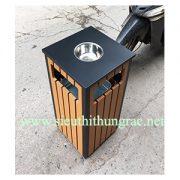 thùng rác gỗ vuông