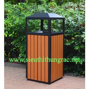 thùng rác gỗ đơn HN-04T