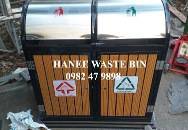 thùng rác gỗ ngoài trời cao cấp